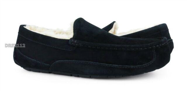 UGG Australia Ascot Black Suede Fur Slippers Mens 10 (Fits size 9) *NIB*
