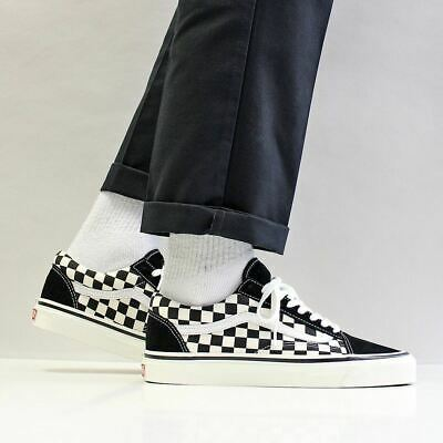 Vans Men's New Old Skool Sneaker 36 Scarpe di tela in pelle scamosciata DX Anaheim Factory Nero Bianco | eBay