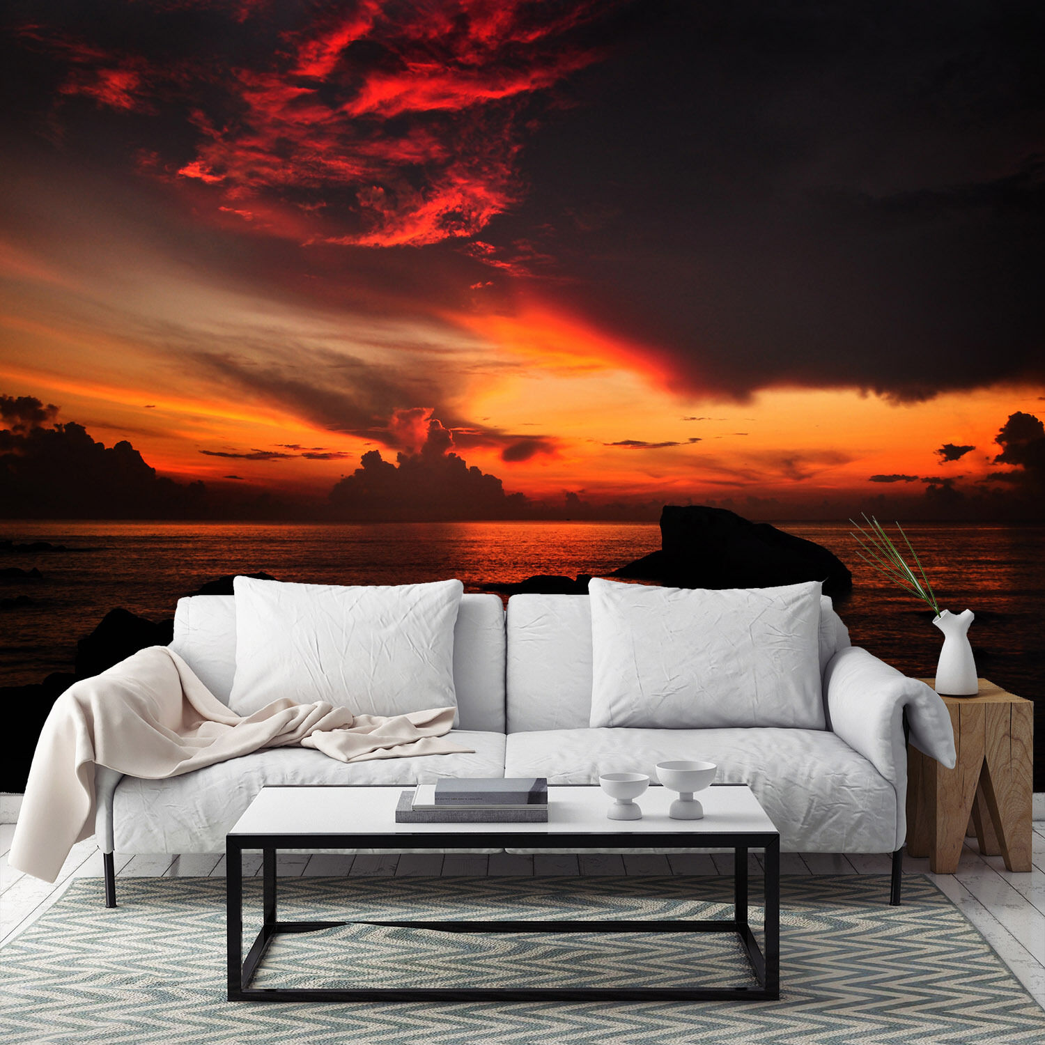 3D Mega Beautiful Ocean Sunset632 Wall Paper Wall Print Decal Wall AJ Wall Paper