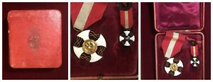 Lot-de-3-Croix-de-Chevalier-Ordre-de-la-Couronne-D-039-Italie-en-Boite