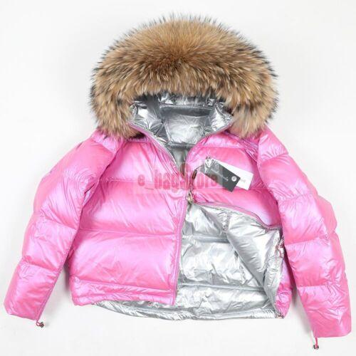 2019 Winter Damen Groß Fuchs Pelz Kapuze Jacke 90/% Duck Down Warm Fleecy Coat