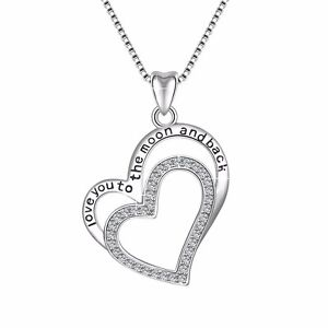 925-Silver-Charm-Love-Heart-Jewelry-Women-Pendant-Fit-Sterling-Necklace-Chain