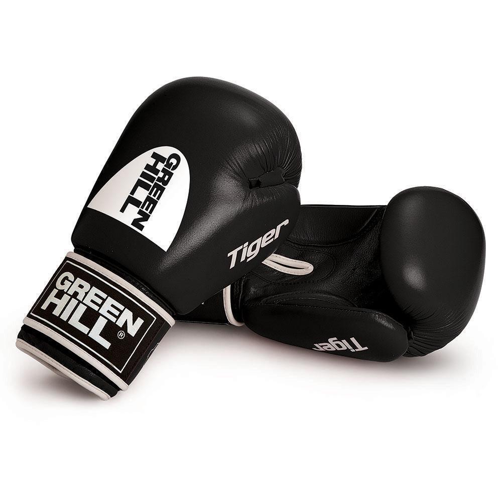 Grün Hill Tiger Muay Leder Boxing Gloves Training Sparring Muay Tiger Thai Punch Velcro 796042