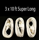 3 x 10Ft Super Long 8 Pin USB Charger Cord Sync Data Cable for iPhone 5 5S C 6