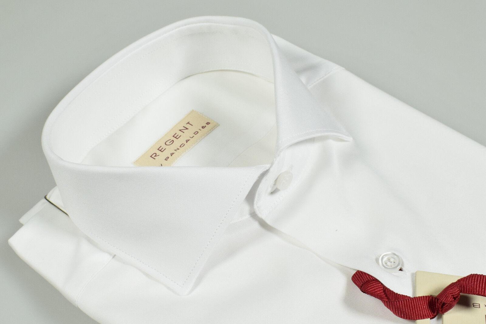 Camicia Bianca Regent by Pancaldi Slim Fit collo alla Francese Cotone Twill
