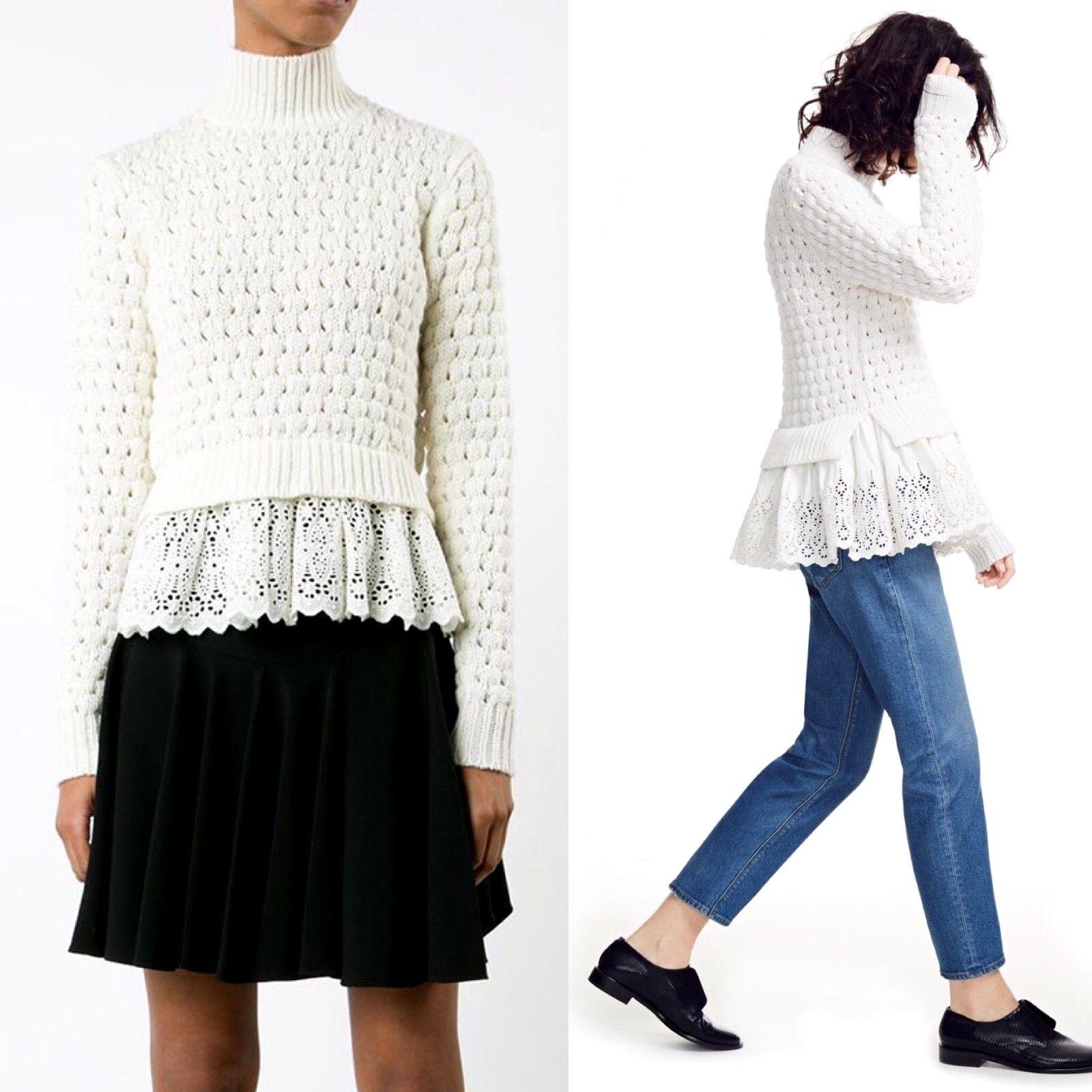 Rebecca Taylor Popcorn Knit Knit Knit Wool Blend Eyelet Sweater Medium Ivory Chalk M  395 9993ec