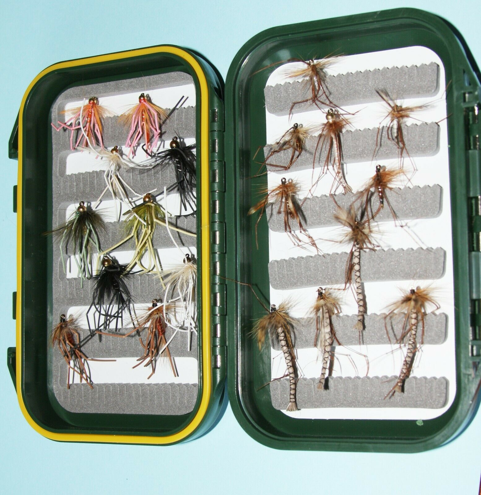 Daddy Long Legs Hoppers /& Legend Fly Box Set Mixed Types Sizes Trout Flies