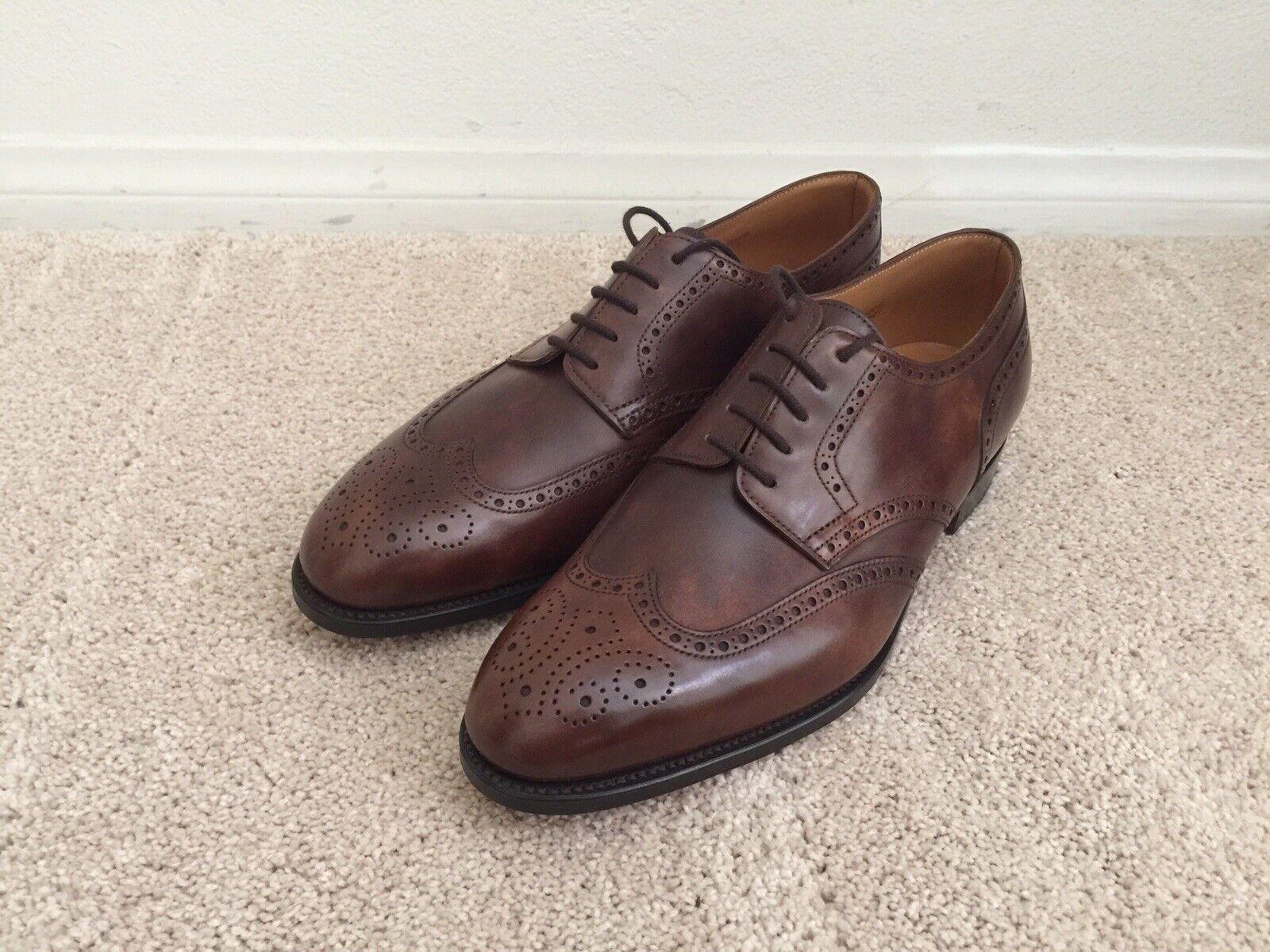 John Lobb Darby II Sz. 7 E Parisian Brown Museum Calf Dress shoes bluetcher