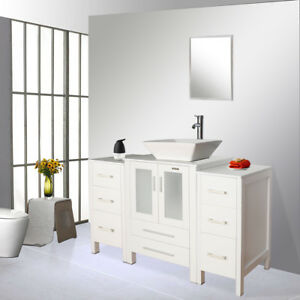 Details About White Bathroom Vanity 48 Inch Set W Ceramic Sink Faucet Small Side Table