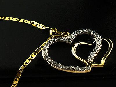 GOLD 333 8K 585 14K Halskette mit Swarovski Kette Anhänger Herz Medaillon Kreuz