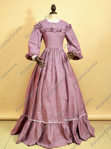 Victorian Dresses- Patterns, Costumes, Custom Dresses    Victorian Civil War Gold Rush Country Maiden Tartan Dress Gown Reenactment 260 $159.00 AT vintagedancer.com
