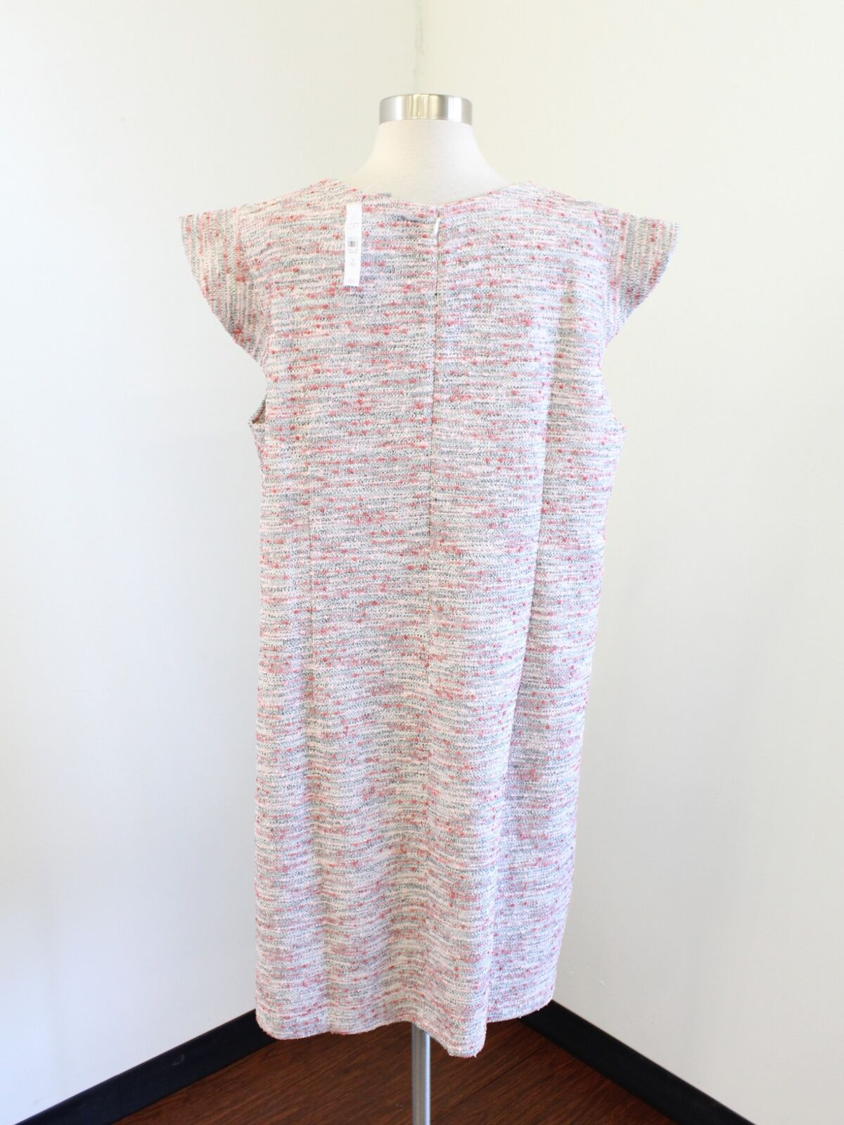 11739311f88 ... NWT Ann Taylor Loft White Pink Red Tweed Ruffle Ruffle Ruffle Sleeve  Shift Dress Size 26