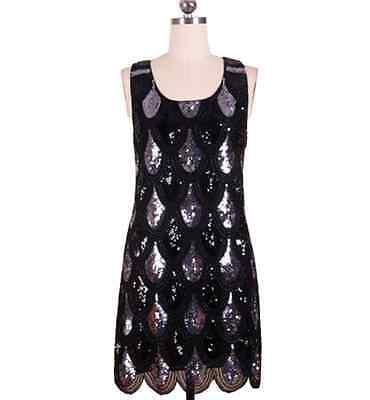 SIZE M GREAT GATSBY 1920s BLACK FLAPPER CHARLESTON SEQUIN DOWNTON ABBEY DRESS M