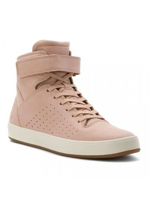 NEW light pink sneakers Lacoste shoes tamora Leather high Tops Size 5.5 or 7
