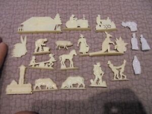 Ancien-Lot-d-039-Anciennes-Figurines-type-Mokarex-Tracteur-Kangourou-Vache-Ferme