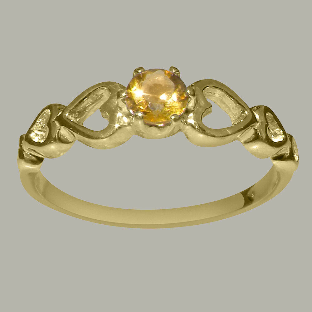 18ct 750 Yellow gold Natural Citrine Womens Solitaire Ring - Sizes J to Z