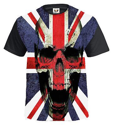 UNION JACK SKULL T-Shirt,Tattoo//Rock//Metal//Biker//Goth//Tattoo//Xmas Gift//Top//Tee