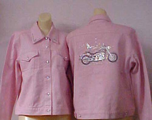 Jacket Harley Cotton Alexander Medium Christine Motorcykel Denim Pink Crystal tnHFZzqw