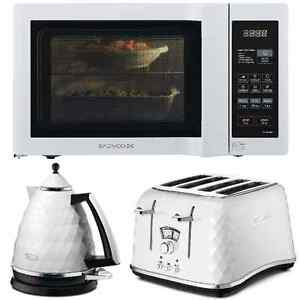 White delonghi brillante kettle 4sl toaster duo plate for Kitchen set kettle toaster microwave