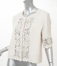 OSCAR DE LA RENTA Cream Floral Beaded Embroidered Crochet Lace Jacket 10 NEW
