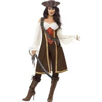 Womens High Seas Pirate Wench Costume Fancy Dress Caribbean Outfit Ladies Film