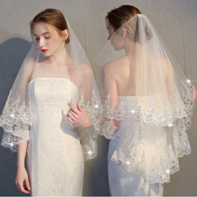 2 Layer Elbow Bridal Wedding Veil With Comb Lace Edge Applique