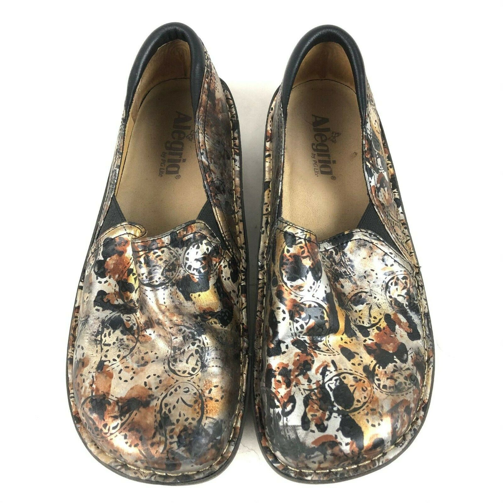 ALEGRIA by PG Lite DEB-386 Size 40 (9) Brown Floral Leather Mary Jane Flats