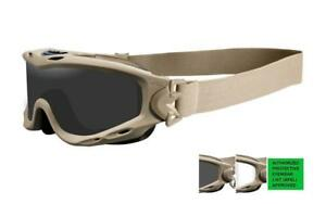 New-Wiley-X-Spear-APEL-Goggle-Smoke-Grey-Clear-Lens-Tan-Frame-SP30T