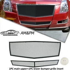 Fits 2008 2013 Cadillac Cts Black Stainless Steel Mesh Grille Insert Combo 2pcs Fits 2010 Cadillac Cts