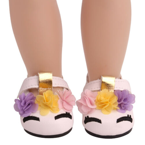 18inch Girl Doll Princess PU Shoes for American Doll Dress Accessories White