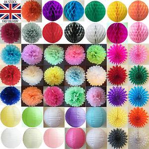 Papier-Tissu-Pompons-pompons-Honeycomb-Balls-fans-lanternes-de-papier-fete-de-mariage