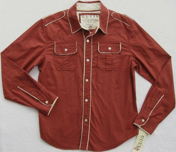 Nwt Guess Jeans Boys Long Sleeve Rust Shirt (size M, L) Msrp$42.50 New
