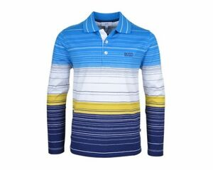 gar ons hugo boss j25a14 828 manches longues polo t shirt ray bleu blanche ebay. Black Bedroom Furniture Sets. Home Design Ideas