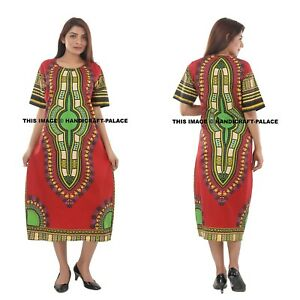 Details about Fashion Womens Traditional African Print Dashiki Dress Half  Sleeve Plus Size
