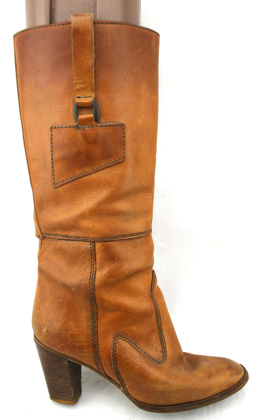 VINDAGE Saddle Tan Tan Tan Camel läder Knee High Harness Campus stövlar Uruguay 7  till salu