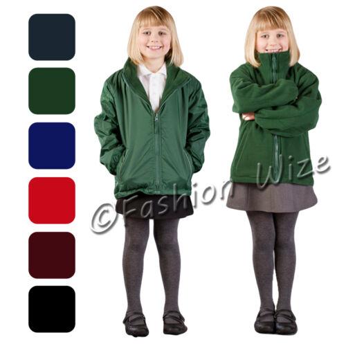 Boys Girls Unisex Fleece Reversible Jacket Winter Warm Coat Zipped School