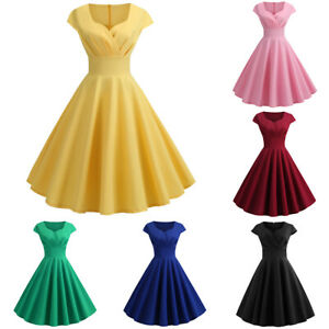 Womens-50s-Vintage-Hepburn-Pinup-Swing-Evening-Party-Work-Rockabilly-Dress-Gowns