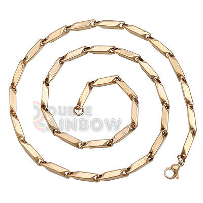 C3 24 inch Men Stainless Steel Gold 5mm Bullet Necklace Chain Link Free Shipping