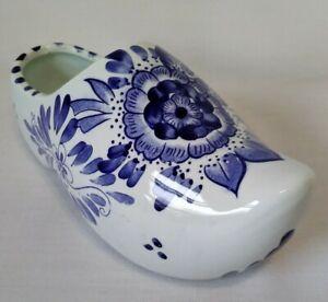 Vintage-Hand-Painted-Delfts-Blue-Color-Blauw-Floral-Motif-Shoe-Planter-Taiwan