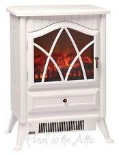 Pequeña Estufa Calefactor 1850W Blanco Log Burning Efecto de la llama