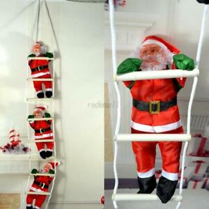 Christmas-Santa-Claus-Climbing-On-Rope-Ladder-Xmas-Trees-Hanging-Home-Decor-OMG