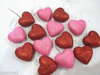 Valentines Day Red Pink Glitter Hearts 1.5 Ornaments Decorations Decor Set Of15
