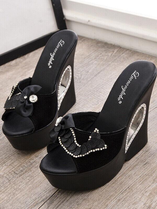 Sandalen Hausschuhe Holzschuhe Keilabsätze 13 cm Strass Schwarz Leder Kunstleder