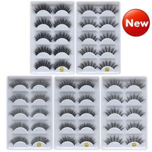 5-Pairs-Handmade-100-Real-Mink-3D-False-Eyelashes-Cross-Thick-Long-Eye-Lashes