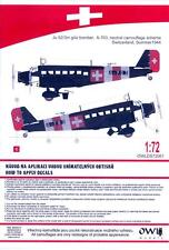 Owl Decals 1/72 JUNKERS Ju-52/3m g4e in Neutral Swiss Camouflage Summer 1944