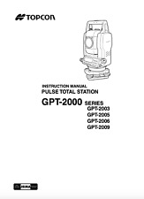 Topcon Pulse Total Station Instruction Manual GPT-2000 Series