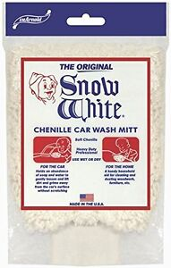 Snow White 85-320 Heavy Duty Professional Car Wash Mitt, 10In L X 6 In W, Cotton