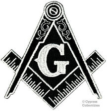 2 Black Masonic Logo Embroidered Patch Iron-on Freemason Square Compass Mason