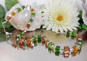 Ein-TRAUM-Exclusive-Wuerfelkette-Braun-Gruen-Glas-Wuerfel-Silberfolie