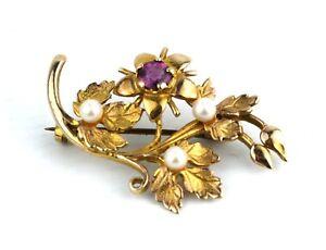 Mid-Century-9ct-Gold-Floral-Spray-Brooch-Pearls-Amethyst-Birmingham-1964-HW-amp-S